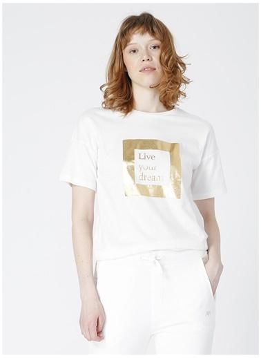 Limon Company Limon Verfen Ekru Bisiklet Yaka DijitalDesenli Kadın T-Shirt Ekru
